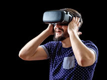 Young happy man experiencing virtual reality Stock Photography