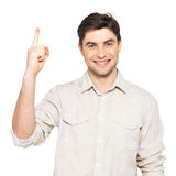 Young happy man with good idea sign Royalty Free Stock Image