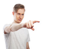 Young happy man with good idea sign in casuals looking at camera Stock Images