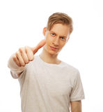 Young happy man with good idea sign in casuals looking at camera Royalty Free Stock Photos