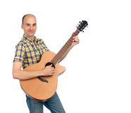 Young happy man with guitar Stock Photos