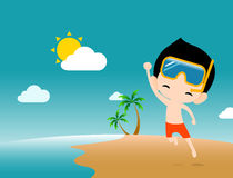 Young happy man jumping on the beach Royalty Free Stock Photo