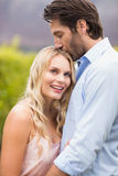 Young happy man kissing woman on the forehead Royalty Free Stock Photo