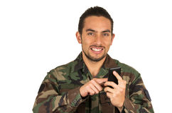 Young happy man in military uniform Stock Images