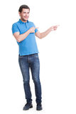 Young happy man shows a finger. Royalty Free Stock Images