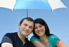 Young happy man and smiling woman Royalty Free Stock Images