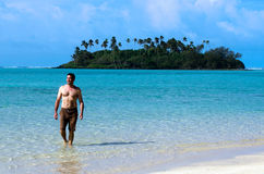 Young happy man on Vacation in Pacific Island Stock Images