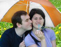Young happy man and woman outdoors Stock Photo