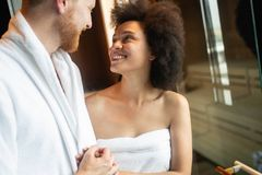 Young man and woman in luxury spa and wellness center royalty free stock photos