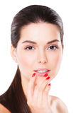 Young happy model with bright make-up and manicure Royalty Free Stock Photos