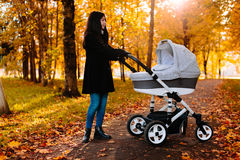 Young happy mom with a stroller in autumn park Royalty Free Stock Photo