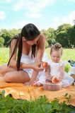 Young happy mother with daughter in the park picnicking Stock Image