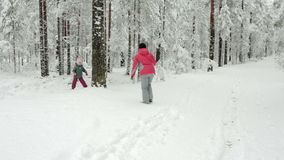 Young happy mother and her little daughter playing with snow balls in forest. stock footage