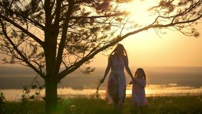 Young happy mother with little daughter walking across the hill at bright sunset. Telephoto shot stock video footage