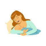 Young happy mother lying in the bed and breastfeeding her baby with breast milk, colorful vector Illustration. On a white background Stock Photos