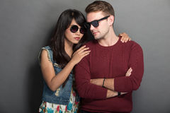 Young happy multicultural couple chic pose Stock Photos