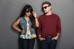 Young happy multicultural couple chic pose Stock Image