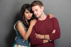 Young happy multicultural couple chic pose Stock Photography