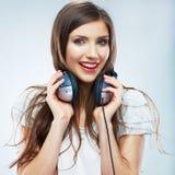 Young Happy Music woman isolated portrait. Female model studio Stock Image