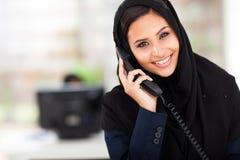 Muslim businesswoman phone Stock Images