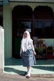 Young happy muslim teenager woman. MANADO, NORTH SULAWESI, INDONESIA - AUGUST 5, 2015: young happy muslim teenager woman on August 5, 2015 in Manado, North Royalty Free Stock Image