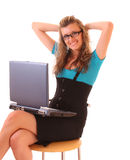 Young happy office woman with laptop isolated Stock Photos