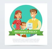 Young happy parents and their son, family protection concept, insurance policy banner flat vector element for website or. Mobile app with sample text Royalty Free Stock Photography