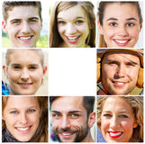Young, happy people. Collage of young and friendly people stock photo