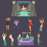 Young Happy People Dancing In Night Club And Drinking In The Bar With DJ Playing Music Cartoon Vector Illustration Royalty Free Stock Photography