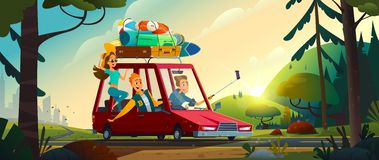 Young happy people going by a car from the city to the nature. Cheerful Teenagers vacation concept. Beautiful summer landscape. stock illustration