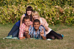 Young happy people outdoor Royalty Free Stock Photography