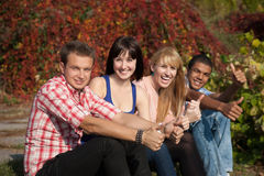 Young happy people outdoor Stock Image