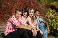 Young happy people outdoor Stock Photos