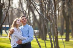 Young happy people watching nature. Couple having great time wal royalty free stock photo