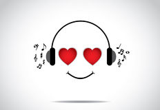 Young happy persion illustration of listening to great music with heart shaped eyes Royalty Free Stock Photos