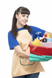 Young Happy and positive Cleaner Woman Royalty Free Stock Photos