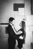 Young happy pregnant couple. Black and white. Royalty Free Stock Photos