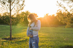 Young happy pregnant woman relaxing and enjoying life in autumn nature Royalty Free Stock Photos
