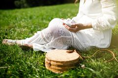 Beautiful pregnant woman is sitting on the grass in the park. Stock Photos