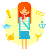 Young happy redhair girl eats ice cream. Summer Stock Image