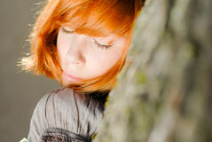 Young happy redhead teenage girl closeup portrait Royalty Free Stock Images