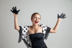 Young happy retro styling caucasian woman posing Royalty Free Stock Photos