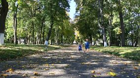 Young happy sisters run in the autumnal park stock footage