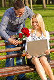 Young happy smiling attractive couple royalty free stock images