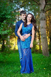 Young happy smiling attractive couple together outdoors Royalty Free Stock Photos