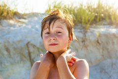 Young Happy Smiling Boy At The Beach Stock Images
