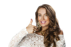 Young happy smiling brunette woman with call me gesture Stock Photos