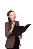 Young happy smiling business woman with folder Stock Images