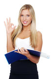 Young happy smiling businesswoman gesturing Stock Image