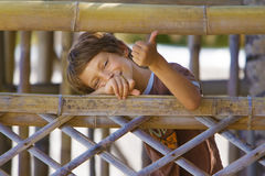 Young happy smiling child boy summer outdoor portrait Stock Image